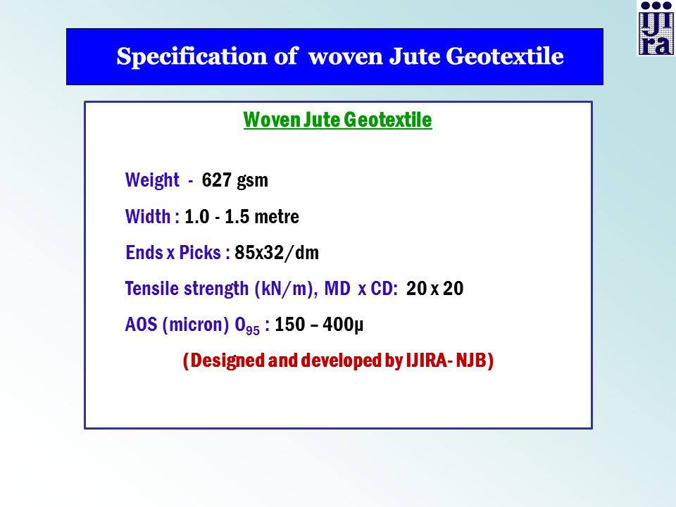Specification of woven Jute Geotextile