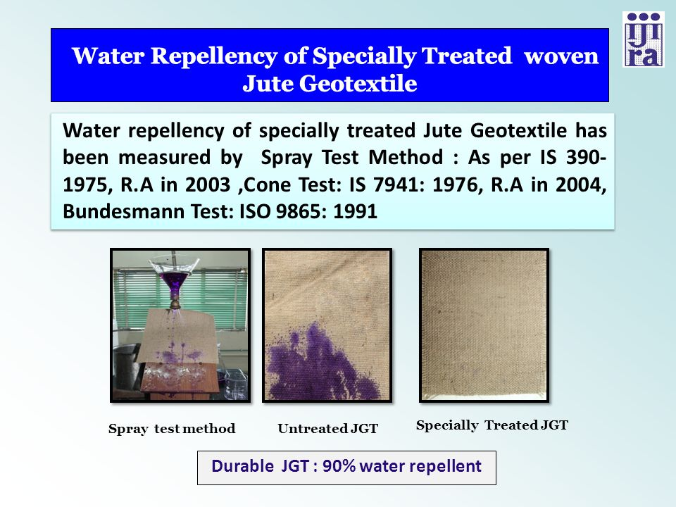 Water Repellency of Specially Treated woven Jute Geotextile