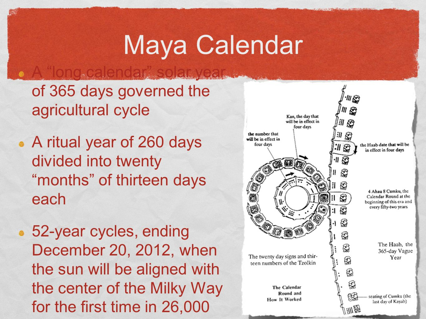 Maya Calendar A long calendar solar year of 365 days governed the agricultural cycle.