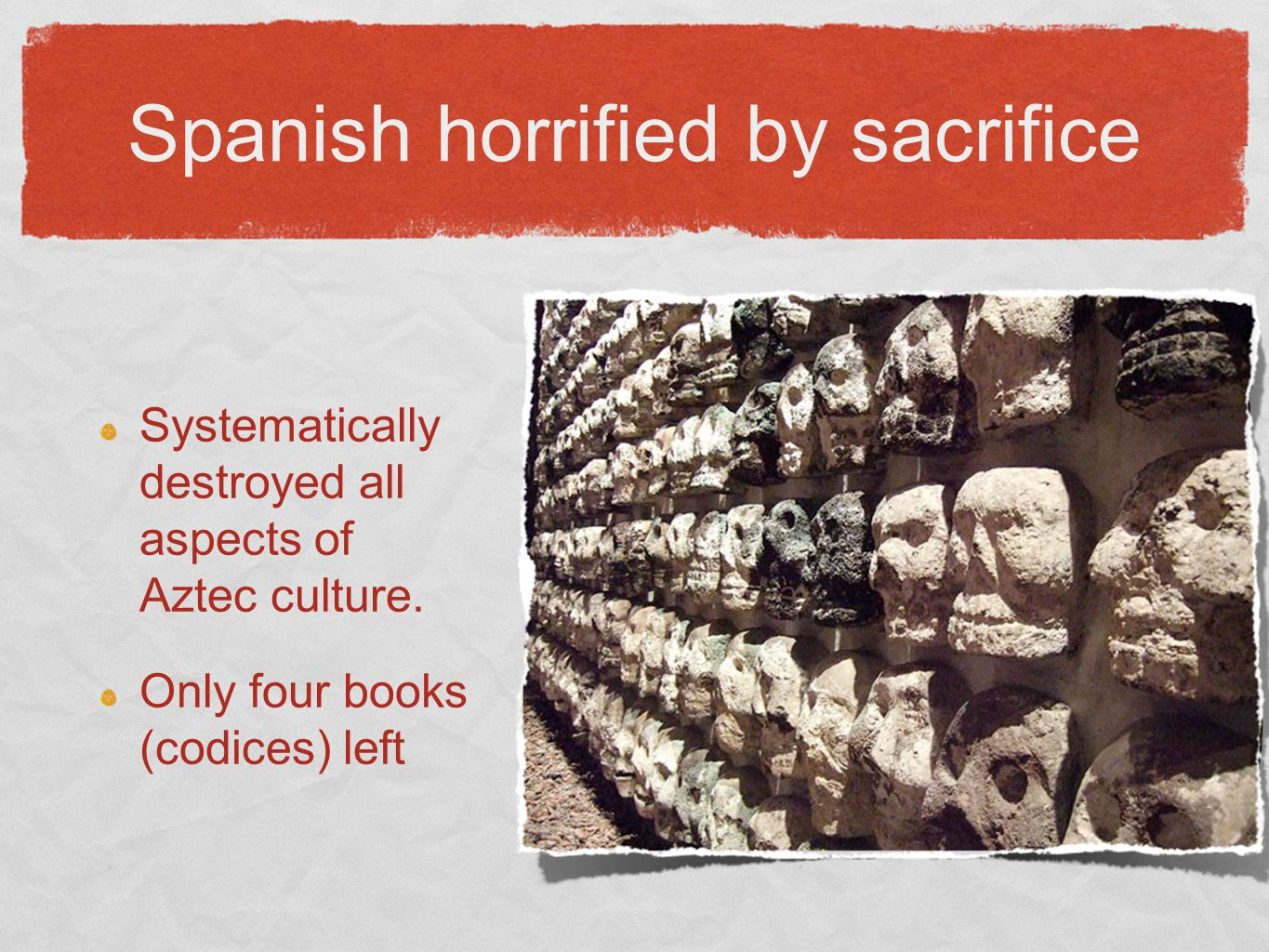 Spanish horrified by sacrifice