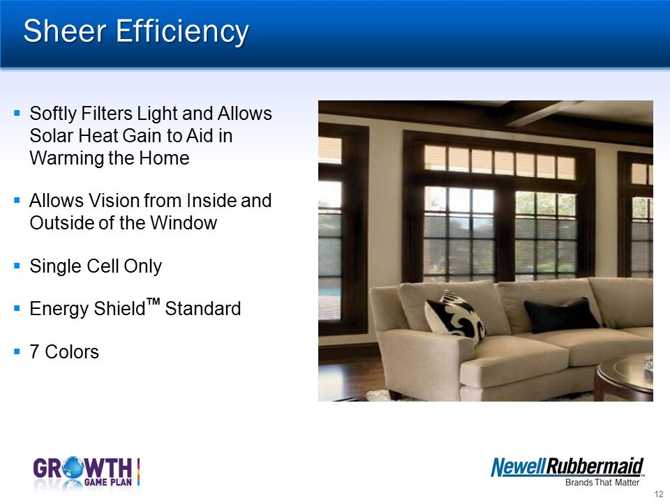 Sheer Efficiency Softly Filters Light and Allows Solar Heat Gain to Aid in Warming the Home. Allows Vision from Inside and Outside of the Window.