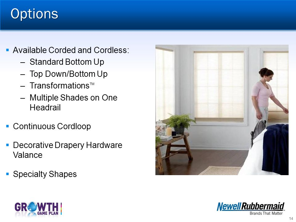 Options Available Corded and Cordless: Standard Bottom Up