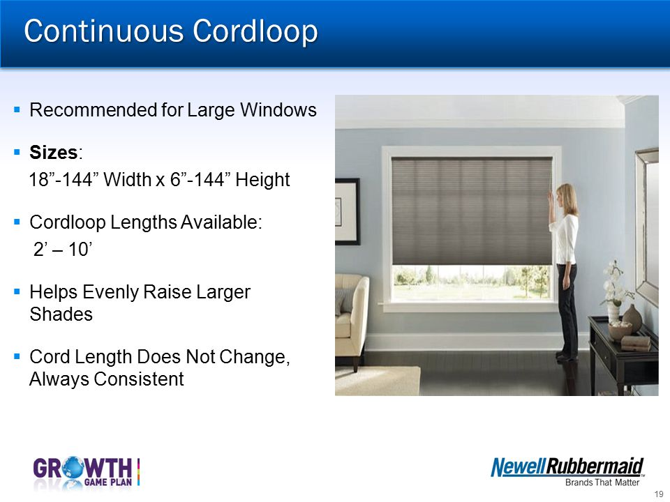 Continuous Cordloop Recommended for Large Windows Sizes: