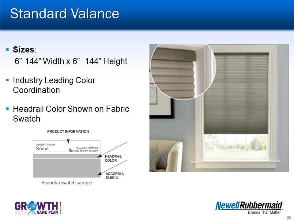 Standard Valance Sizes: 6 -144 Width x 6 -144 Height