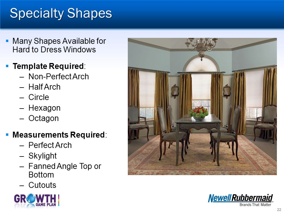 Specialty Shapes Many Shapes Available for Hard to Dress Windows
