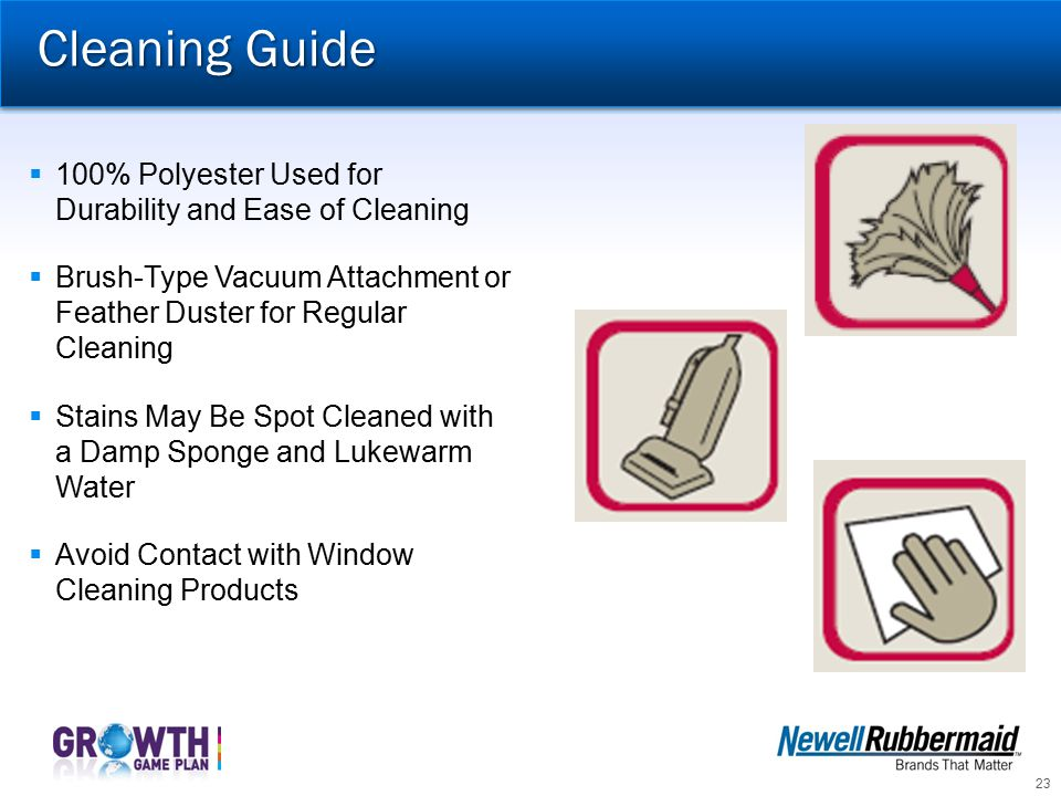 Cleaning Guide 100% Polyester Used for Durability and Ease of Cleaning