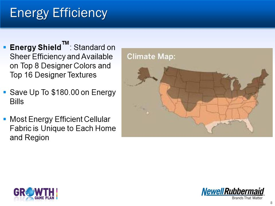 Energy Efficiency Energy ShieldTM : Standard on Sheer Efficiency and Available on Top 8 Designer Colors and Top 16 Designer Textures.