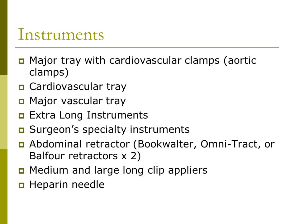 Instruments Major tray with cardiovascular clamps (aortic clamps)