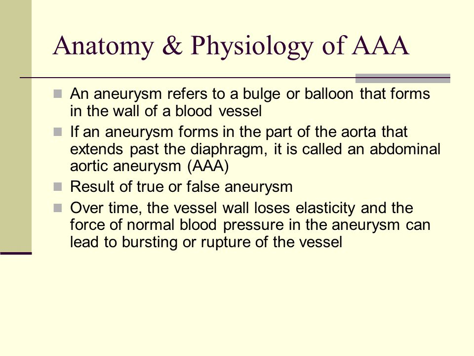 Anatomy & Physiology of AAA