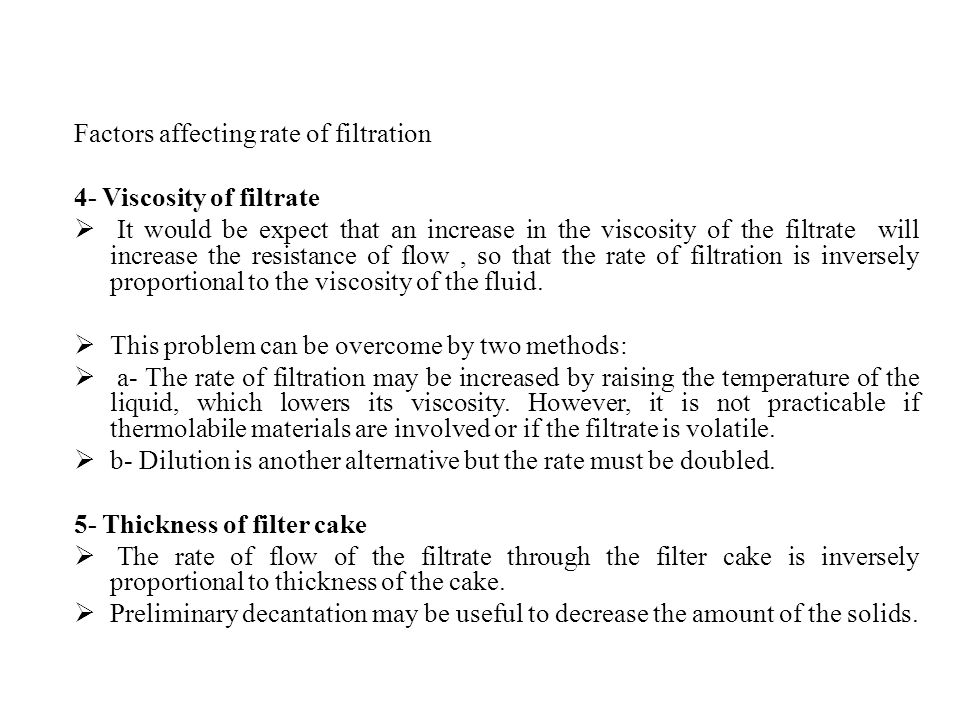 Factors affecting rate of filtration