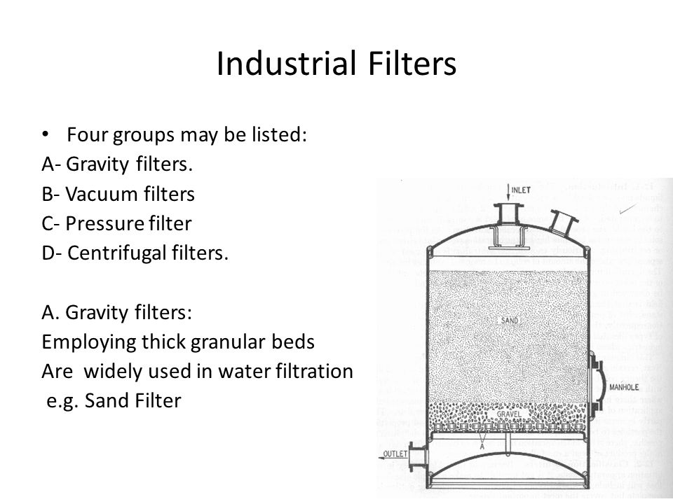 Industrial Filters Four groups may be listed: A- Gravity filters.
