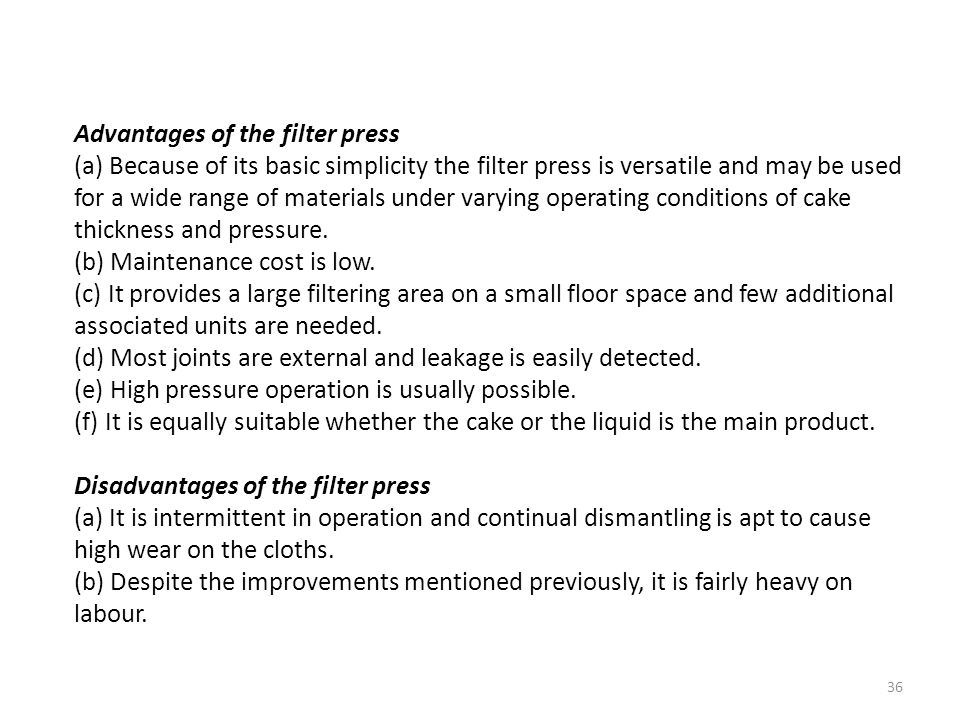 Advantages of the filter press