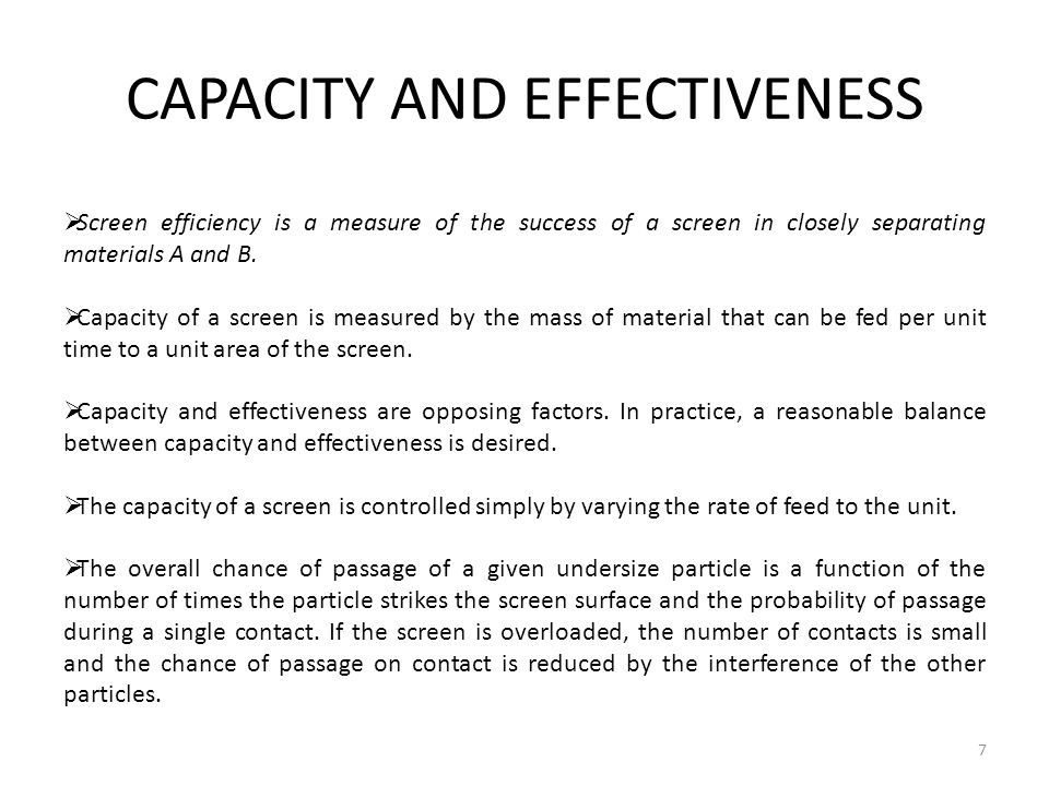 CAPACITY AND EFFECTIVENESS