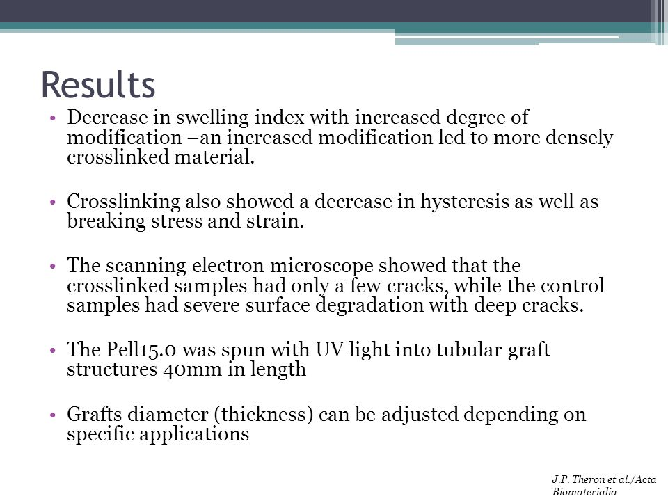 Results Decrease in swelling index with increased degree of modification –an increased modification led to more densely crosslinked material.