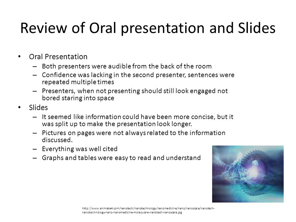 Review of Oral presentation and Slides