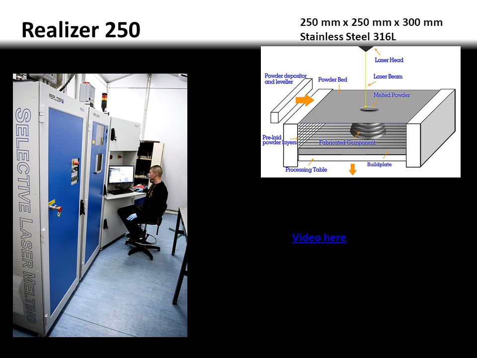 Realizer 250 250 mm x 250 mm x 300 mm Stainless Steel 316L Video here