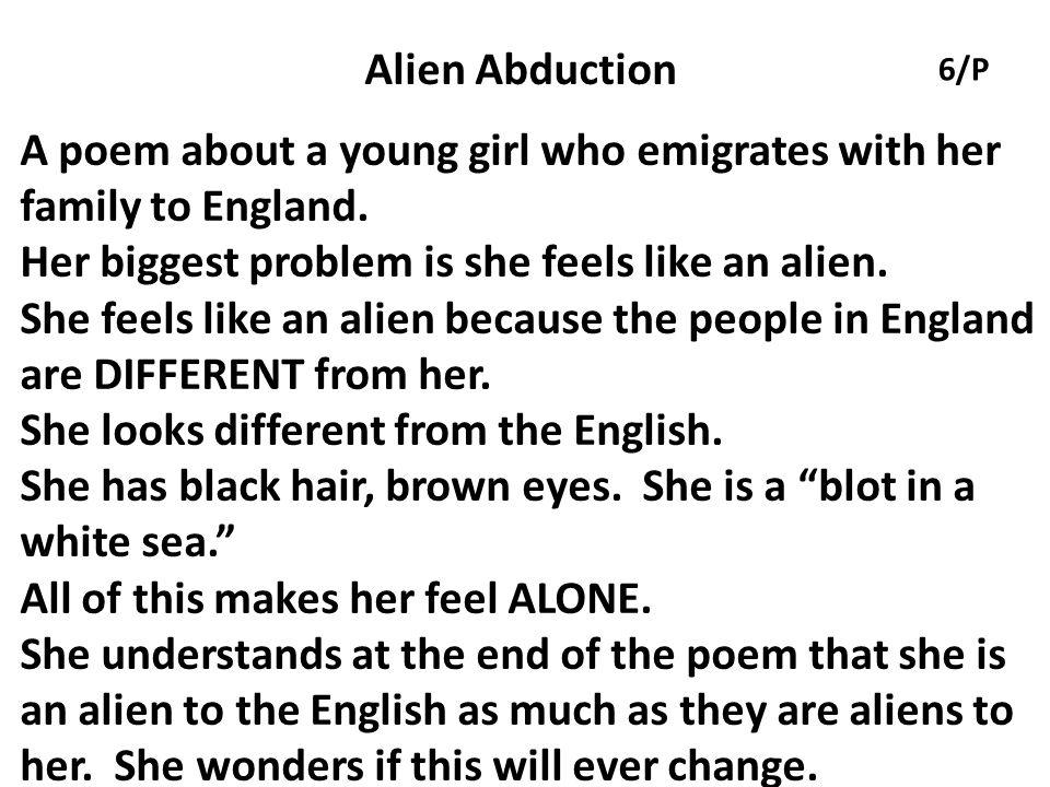 A poem about a young girl who emigrates with her family to England.
