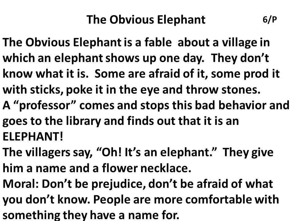 The Obvious Elephant 6/P.