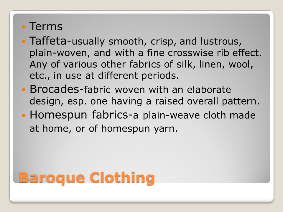 Baroque Clothing Terms