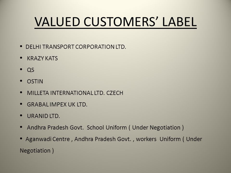 VALUED CUSTOMERS' LABEL
