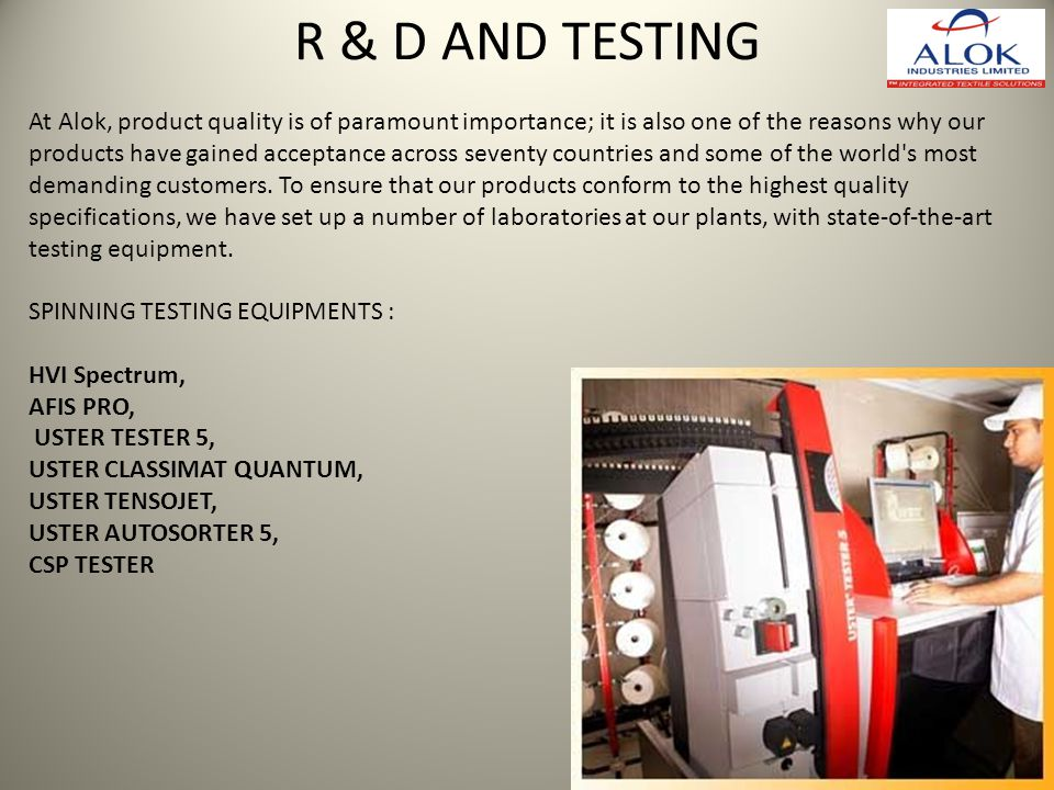 R & D AND TESTING