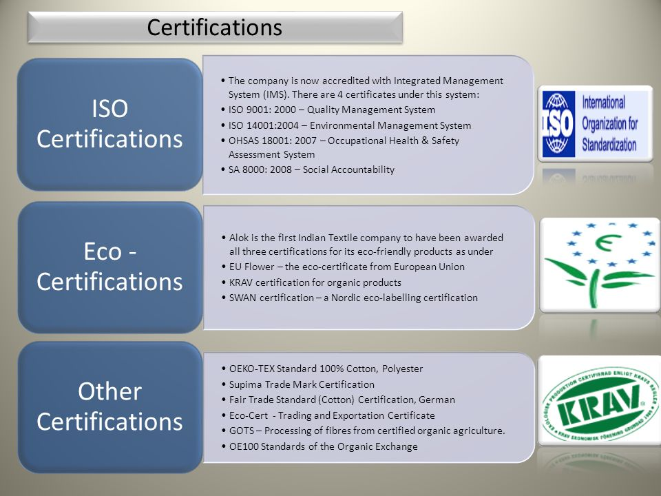 Certifications ISO Certifications.