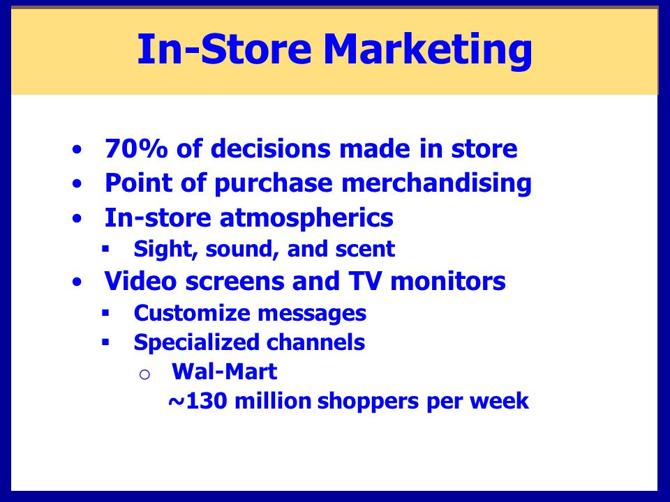 In-Store Marketing 70% of decisions made in store