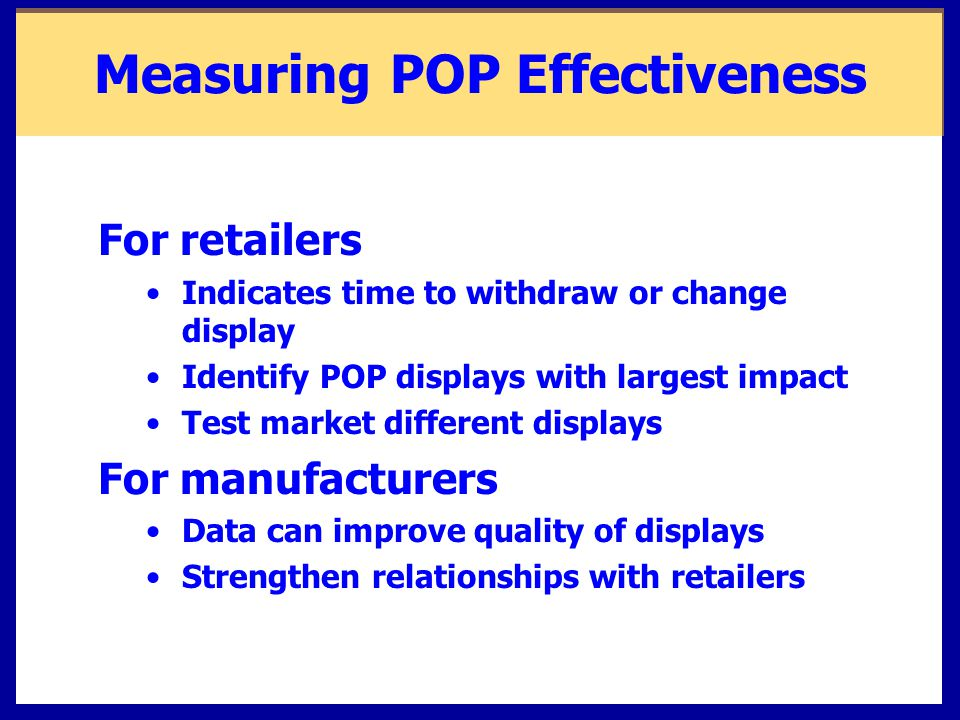 Measuring POP Effectiveness