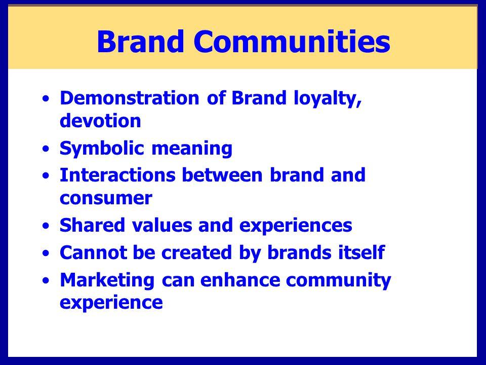 Brand Communities Demonstration of Brand loyalty, devotion