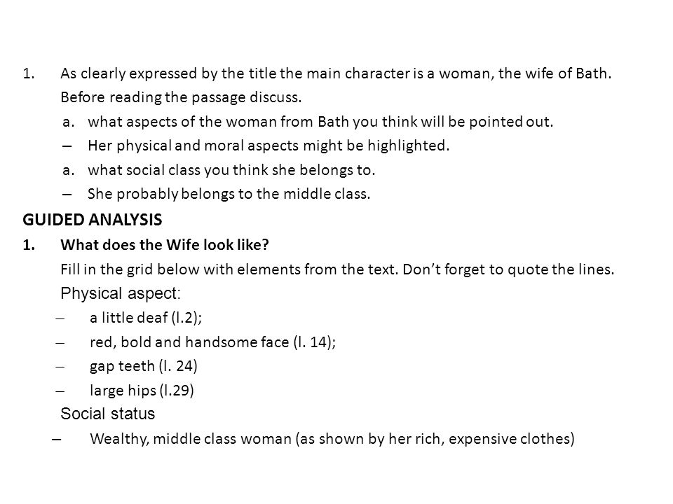 "an analysis of the story the wife of bath Analysis: ""the wife of bath's tale what is the question for which he must find an answer what is ironic about the wife of bath's ending to this story."