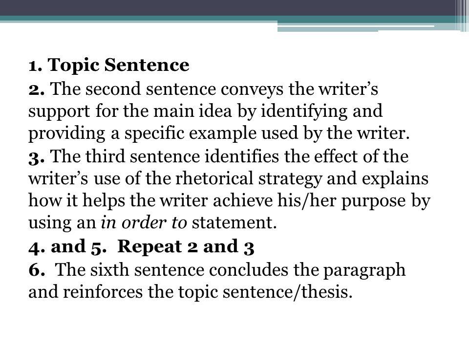 1. Topic Sentence