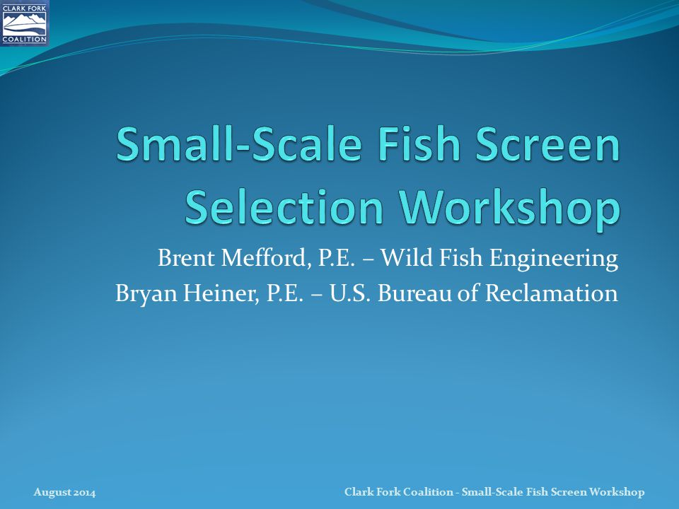 Small-Scale Fish Screen Selection Workshop