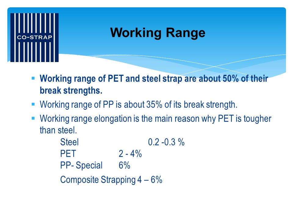 Working Range Working range of PET and steel strap are about 50% of their break strengths. Working range of PP is about 35% of its break strength.