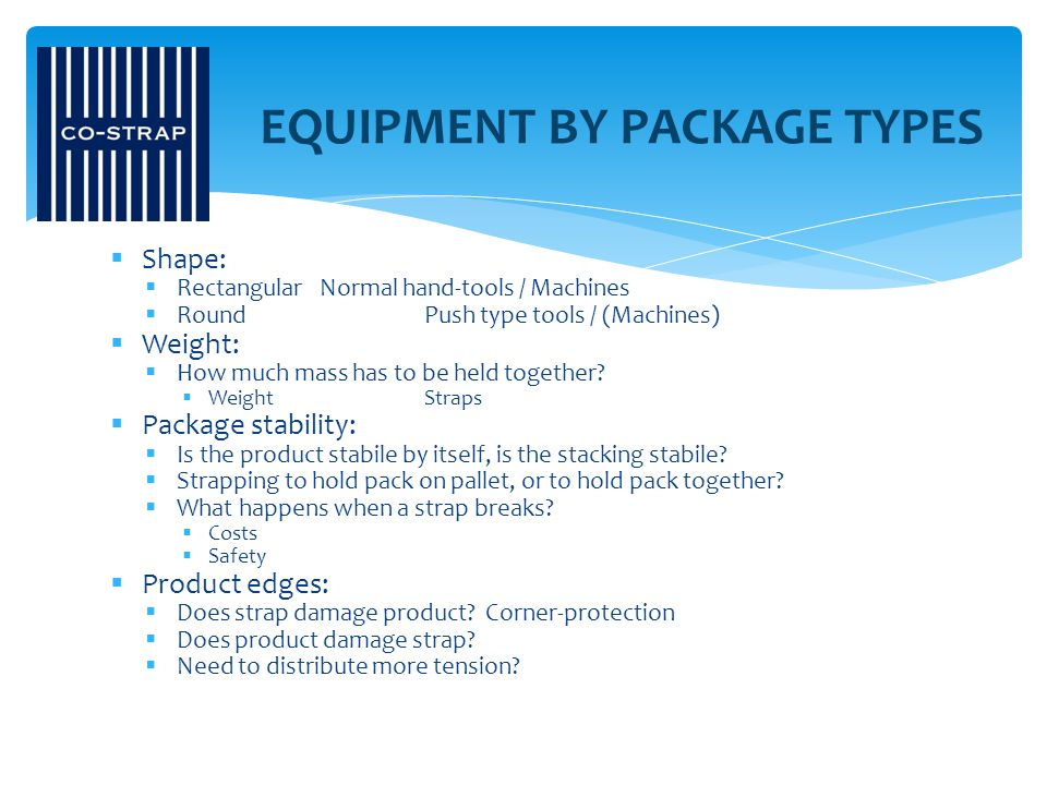 EQUIPMENT BY PACKAGE TYPES