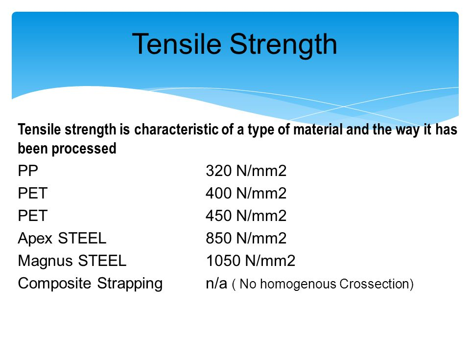 Tensile Strength Tensile strength is characteristic of a type of material and the way it has been processed.