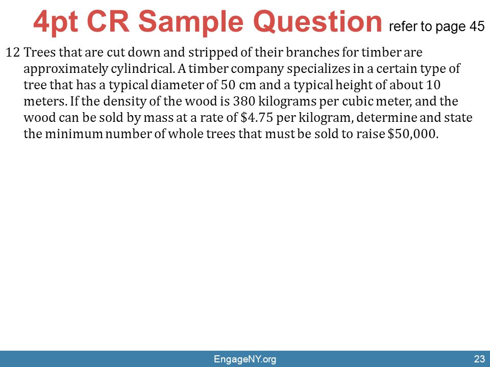 4pt CR Sample Question refer to page 45