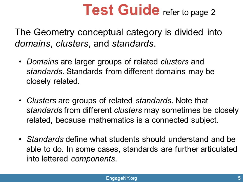 Test Guide refer to page 2. The Geometry conceptual category is divided into domains, clusters, and standards.