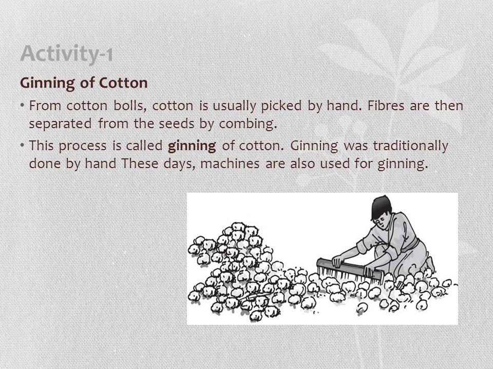 Activity-1 Ginning of Cotton