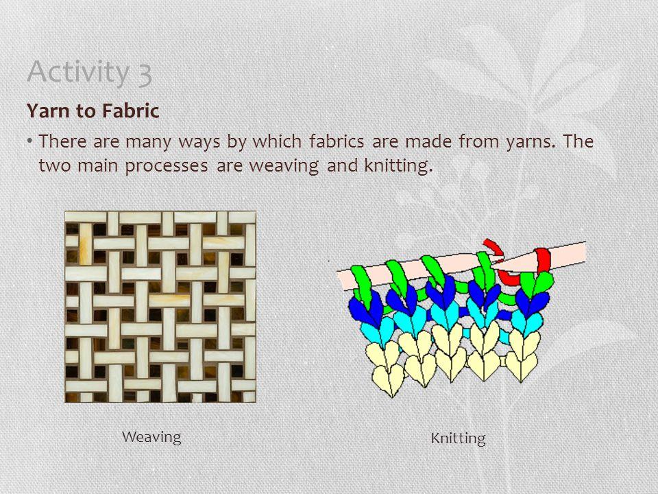 Activity 3 Yarn to Fabric