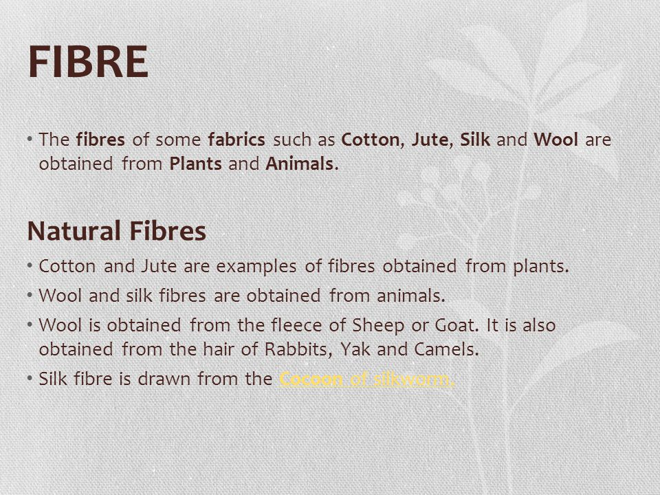 FIBRE The fibres of some fabrics such as Cotton, Jute, Silk and Wool are obtained from Plants and Animals.