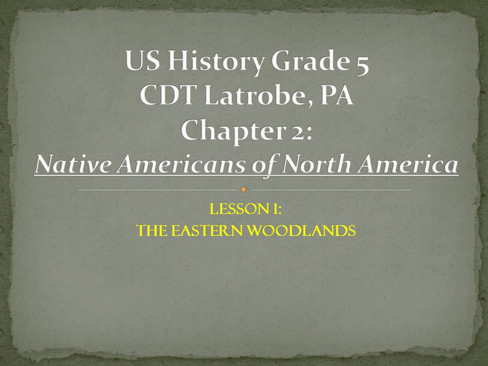 Lesson 1: The Eastern Woodlands