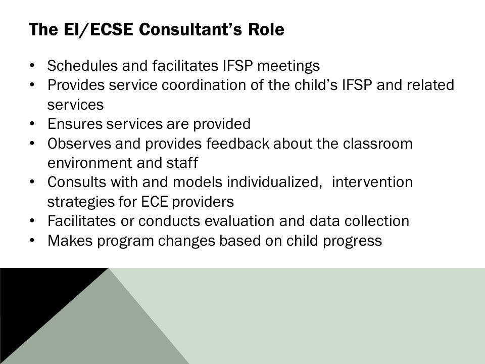 The EI/ECSE Consultant's Role