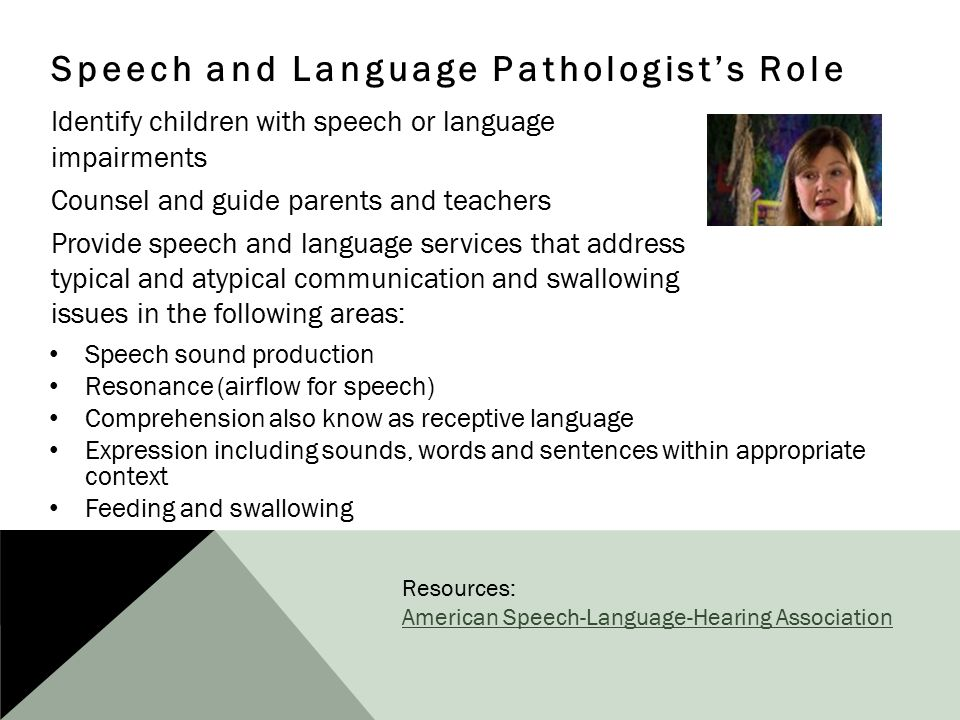 Speech and Language Pathologist's Role