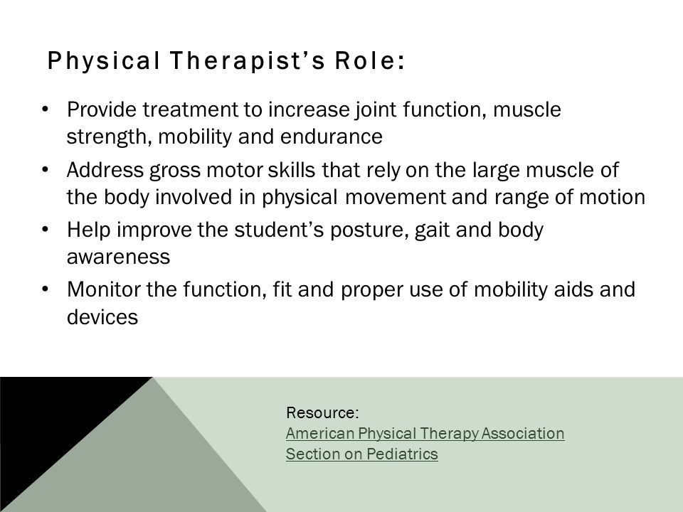 Physical Therapist's Role: