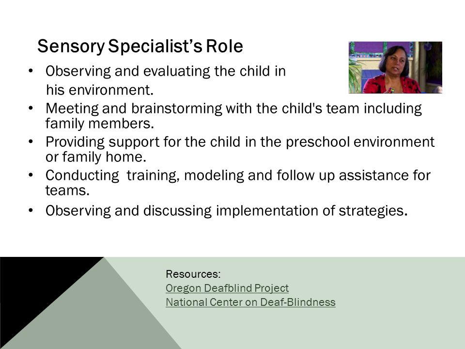 Sensory Specialist's Role