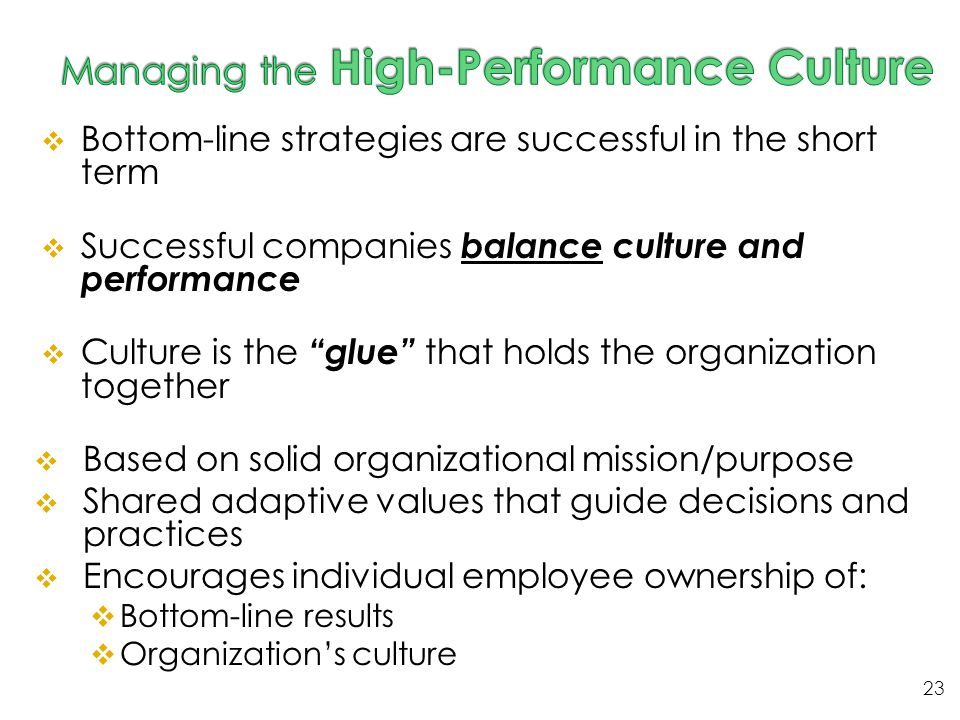 Managing the High-Performance Culture