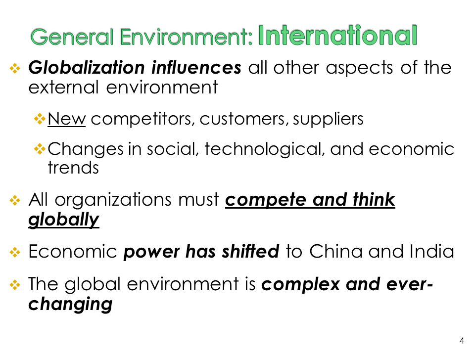 General Environment: International