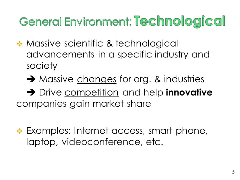 General Environment: Technological
