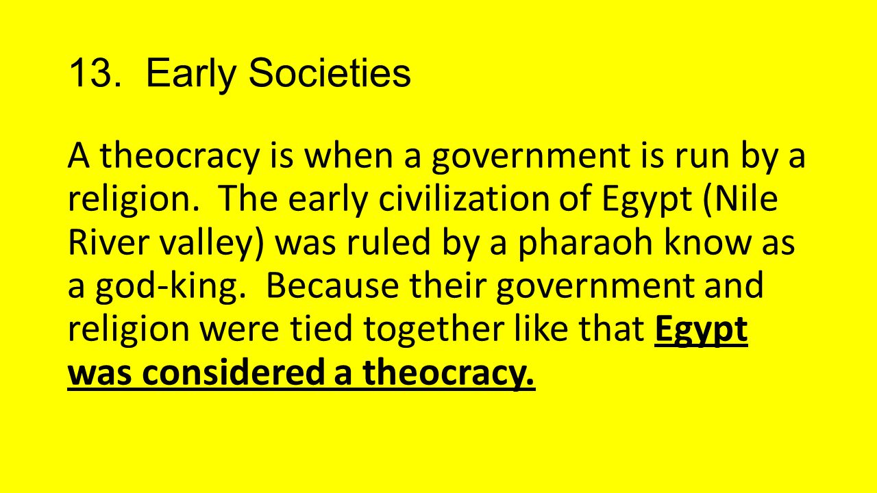 13. Early Societies