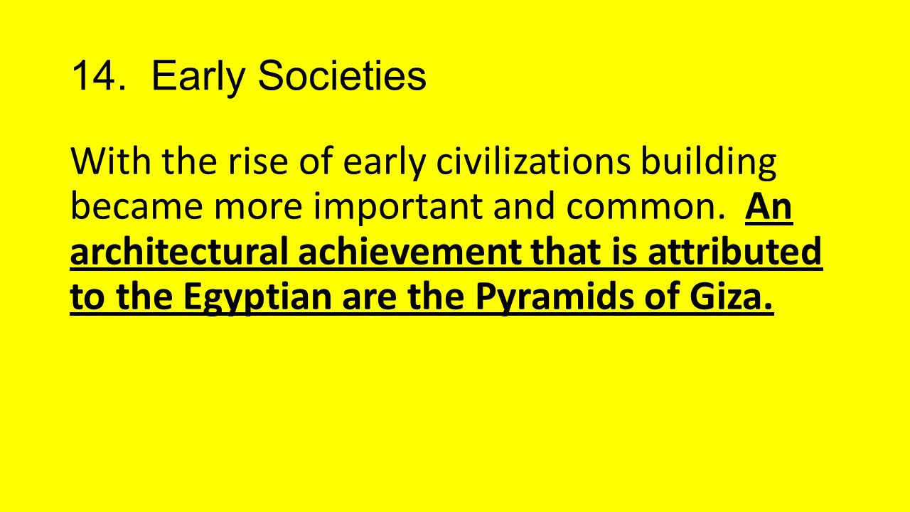 14. Early Societies